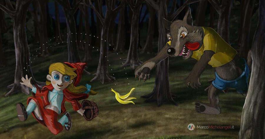 Illustrazione, Cappuccetto rosso e il lupo nel bosco