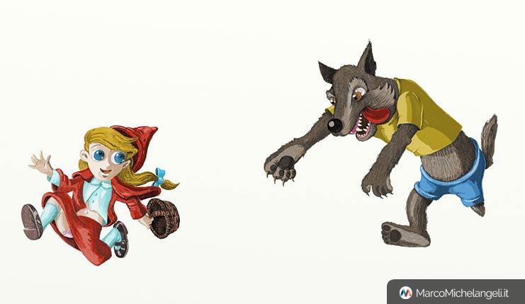 Cappucetto rosso e il lupo, personaggi a colori