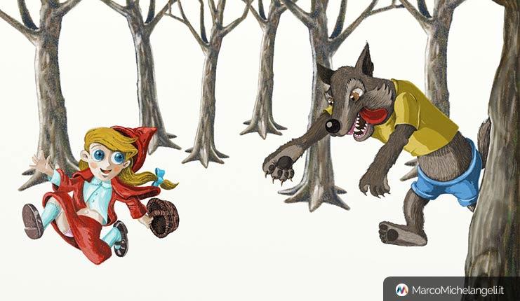 Cappucetto rosso e il lupo, fondale alberi