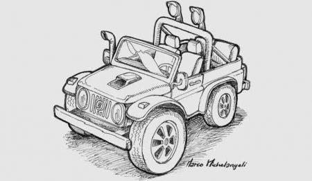 Disegni da colorare una jeep fuori strada
