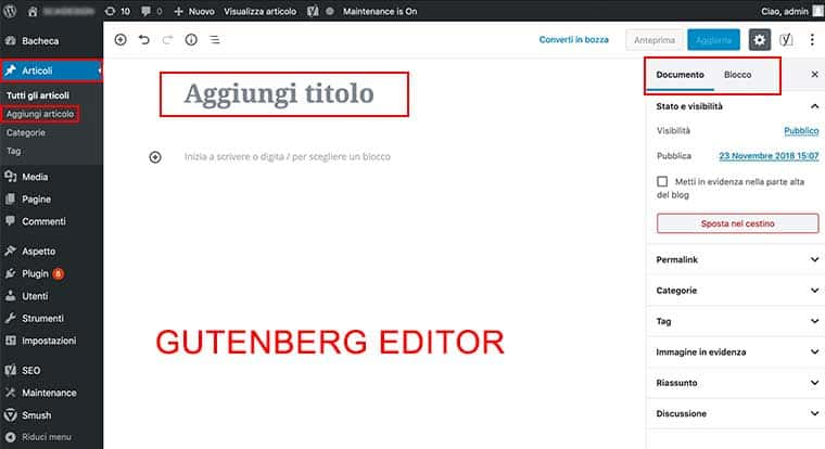 Wordpress 5 Gutenberg panoramica