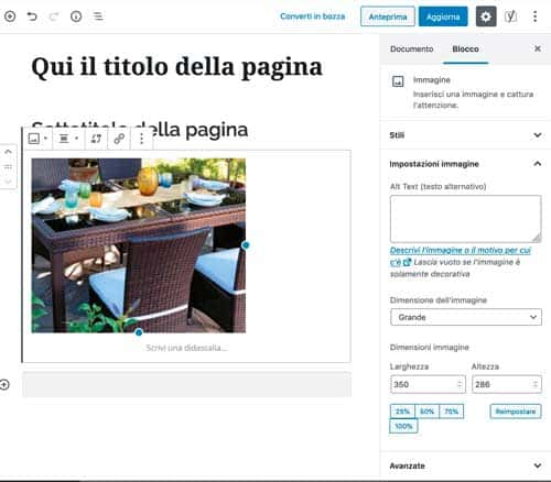Wordpress 5 Gutenberg Immagine inserita